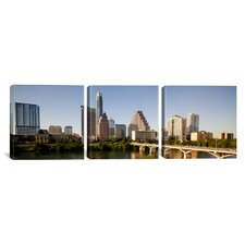 Panoramic Photography Austin Skyline Cityscape 3 Piece on Canvas Set