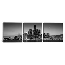 Photography Waterfront, River Detroit, Detroit, Michigan 3 Piece on Canvas Set