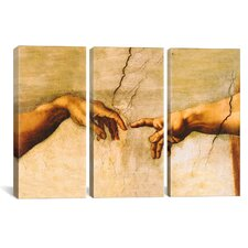 Michelangelo di Lodovico Buonarroti Simoni The Creation of Adam 3 Piece on Canvas Set