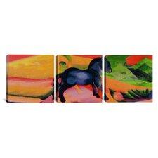 Franz Marc Little Blue Horse 3 Piece on Canvas Set