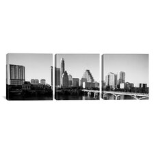 Panoramic Photography Austin Skyline Cityscape 3 Piece on Canvas Set in Black and White