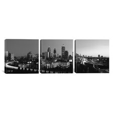 Panoramic Photography Atlanta Skyline Cityscape 3 Piece on Canvas Set in Black and White