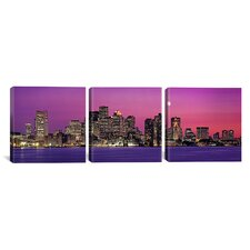 Photography Boston, View of an Urban Skyline 3 Piece on Canvas Set