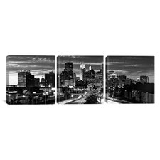 Panoramic Photography Minneapolis Skyline Cityscape Evening 3 Piece on Canvas Set in Black and White