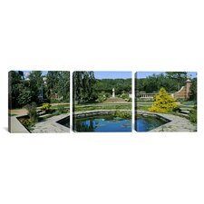 Photography Pond in the English Walled Garden, Chicago Botanic Garden 3 Piece on Canvas Set