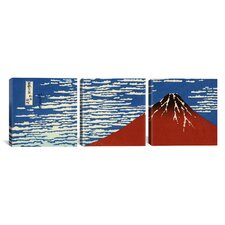 Katsushika Hokusai Mount Fuji in Clear Weather 3 Piece on Canvas Set in Red