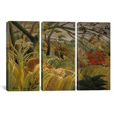 Henri Rousseau Tiger in a Tropical Storm (Surprised) 3 Piece on Canvas Set