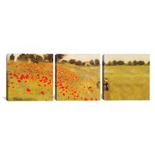 Claude Monet Field of Poppies 3 Piece on Canvas Set