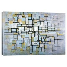 'Composition in Blue, Gray, and Pink' by Piet Mondrian Canvas Art