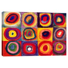 Squares with Concentric Circle Painting Print on Canvas