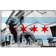<strong>iCanvasArt</strong> Chicago Flag, Art Institute of Chicago Canvas Wall Art