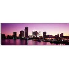 <strong>iCanvasArt</strong> Buildings Lit Up At Dusk, Biscayne Bay, Miami, Miami-Dade County, Florida, Canvas Wall Art