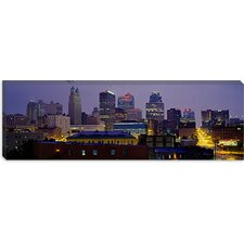 Buildings Lit Up At Dusk, Kansas City, Missouri, Canvas Wall Art