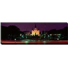 <strong>iCanvasArt</strong> Buildings Lit Up At Night, Jackson Square, St. Louis Cathedral, French Quarter, New Orleans, Louisiana, Canvas Wall Art