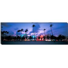 <strong>iCanvasArt</strong> Buildings Lit Up At Dusk, Miami, Florida, Canvas Wall Art
