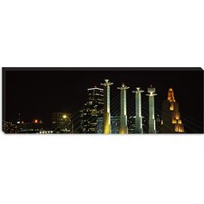 Buildings Lit Up At Night in a City, Bartle Hall, Kansas City, Jackson County, Missouri, Canvas Wall Art