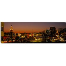 Buildings Lit Up At Night, La Giralda, Kansas City, Missouri, Canvas Wall Art