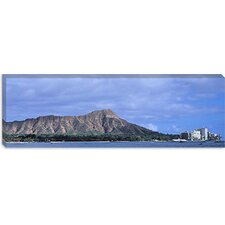 <strong>iCanvasArt</strong> Buildings With Mountain Range In The Background, Diamond Head, Honolulu, Oahu, Hawaii, Canvas Wall Art