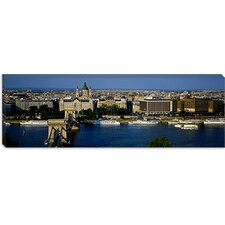 Buildings at The Waterfront, Chain Bridge, Danube River, Budapest, Hungary Canvas Wall Art