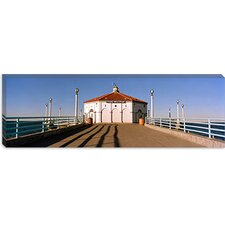 <strong>iCanvasArt</strong> Building on a Pier, Manhattan Beach Pier, Manhattan Beach, Los Angeles County, California Canvas Wall Art
