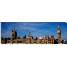 <strong>iCanvasArt</strong> Blue Sky over a Building, Big Ben and the Houses of Parliament, London, England Canvas Wall Art