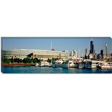 <strong>iCanvasArt</strong> Boats Moored at a Dock, Chicago, Illinois Canvas Wall Art