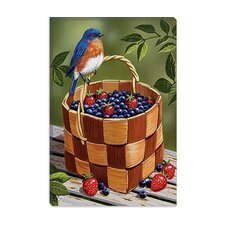 "<strong>iCanvasArt</strong> ""Blueberry Basket"" Canvas Wall Art by William Vanderdasson"