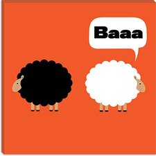 Baaa (Black and White Sheep) Canvas Wall Art