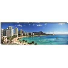 <strong>iCanvasArt</strong> Buildings along The Coastline, Diamond Head, Waikiki Beach, Oahu, Honolulu, Hawaii Canvas Wall Art