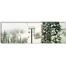 Chair Lift and Snowy Evergreen Trees at Stevens Pass, Washington State Canvas Wall Art
