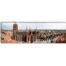 <strong>iCanvasArt</strong> Cathedral in a City, St. Mary's Church, Gdansk, Pomeranian Voivodeship, Poland Canvas Wall Art