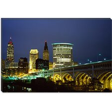 <strong>iCanvasArt</strong> Bridge in a city Lit Up at Night, Detroit Avenue Bridge, Cleveland, Ohio Canvas Wall Art