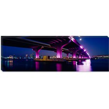 <strong>iCanvasArt</strong> Bridge Lit Up at Dusk, Bay Bridge, San Francisco Bay, California Canvas Wall Art