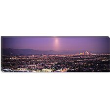Buildings in a City Lit Up at Dusk, Hollywood, San Gabriel Mountains, Los Angeles County, California Canvas Wall Art