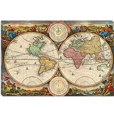 "<strong>iCanvasArt</strong> ""Antique Map of the World in Two Hemispheres (1730)"" Canvas Wall Art by Stoopendaal"