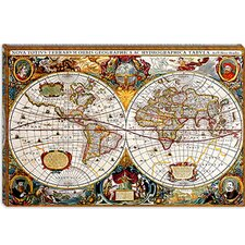 <strong>iCanvasArt</strong> Antique Double Hemisphere Map of the World (Hondius, Henricus c 1630) Canvas Wall Art