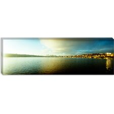 City at The Waterfront with Gasworks Park in The Background, Seattle, King County, Washington State Canvas Wall Art