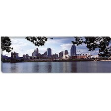 City at The Waterfront, Ohio River, Cincinnati, Hamilton County, Ohio Canvas Wall Art