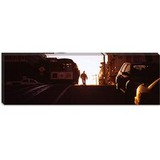 Cable Car on the Tracks at Sunset, San Francisco, California Canvas Wall Art
