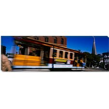 Cable Car Moving on a Street, San Francisco, California Canvas Wall Art