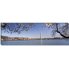 Cherry Blossom with Monument in the Background, Washington Monument, Tidal Basin, Washington, D.C Canvas Wall Art