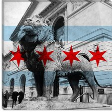 <strong>iCanvasArt</strong> Chicago Flag, Art Institute of Chicago with Small Grunge Canvas Wall Art