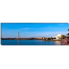 Cherry Blossoms at The Tidal Basin, Jefferson Memorial, Washington Monument, National Mall, Washington, D.C Canvas Wall Art