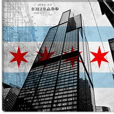<strong>iCanvasArt</strong> Chicago Flag, Willis Tower (Sears Tower) with Map Canvas Wall Art