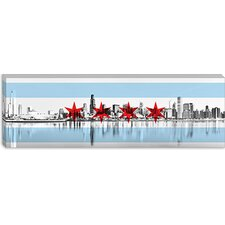 <strong>iCanvasArt</strong> Chicago Flag, City Skyline Panoramic Canvas Wall Art