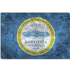 Boston, Massachusetts Flag, Grunge Vintage Map Graphic Art on Canvas