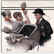 'Boy with Baby Carriage' by Norman Rockwell Painting Print on Canvas