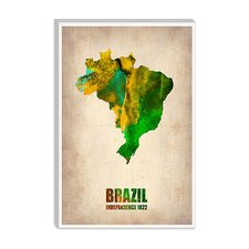 "<strong>iCanvasArt</strong> ""Brazil Watercolor Map"" Canvas Wall Art from Naxart"