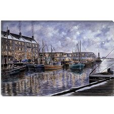 "<strong>iCanvasArt</strong> ""Boston: The Commercial Wharf"" Canvas Wall Art by Stanton Manolakas"