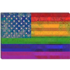 American Rainbow Flag, Gay Lesbian Rights Graphic Art on Canvas